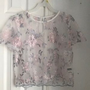 Sheer/mesh floral print embroidered top